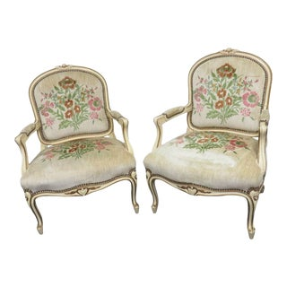 Louis XV Cream Painted Floral Carved Chairs - a Pair For Sale