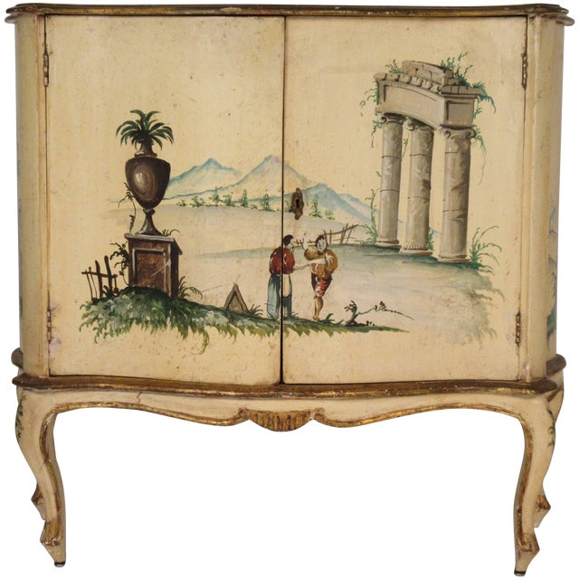1960s Italian Painted Classical Cabinet For Sale