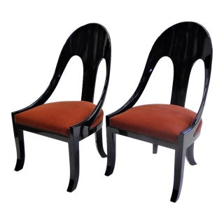 1930s Vintage Period Art Deco Black Lacquered Mohair Upholstery Spoonback Chairs- A Pair For Sale