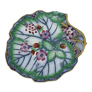 Antique Majolica Floral Dish