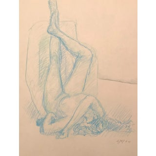 2000 Inverted Reclining Female Nude Oil Pastel Drawing For Sale