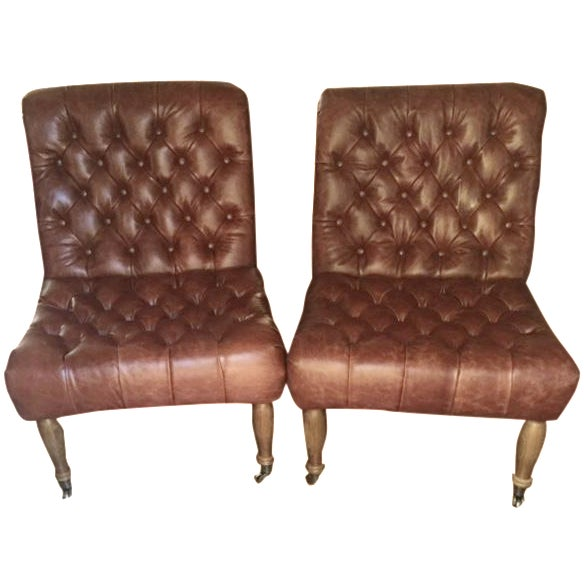 Pottery Barn Carolyn Tufted Chairs - A Pair - Image 1 of 8