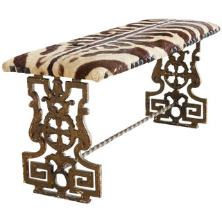 Neoclassical Cast Iron Vanity Bench With Zebra Hide For Sale