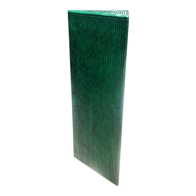 Wood Hand Painted Malachite Split Reed Geometric Pedestal Table For Sale - Image 7 of 7