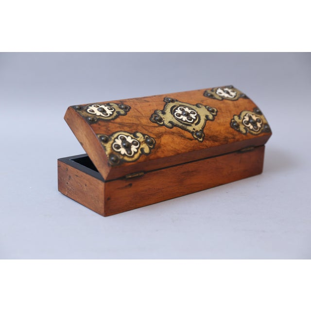 19th C. Brass & Bone Mounts Walnut Box - Image 5 of 7