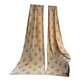 Antique French Printed Linen Curtains - a Pair For Sale