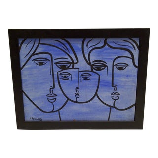 """Circa 1970 M. Flowers """"Family Faces"""" Original Painting For Sale"""