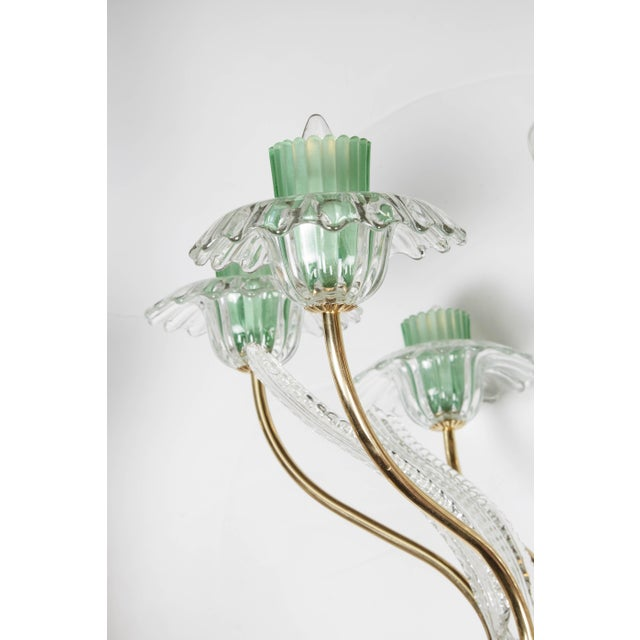 Italian, 1950s Murano Glass and Brass Chandelier For Sale - Image 4 of 7