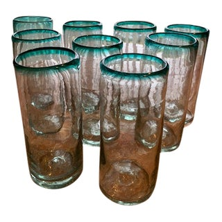 Vintage Mexican Glasses - Set of 9 For Sale