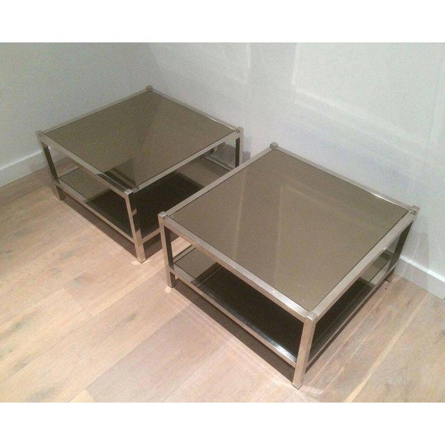 Pair of Large Chrome Side Tables with Bronzed Mirrors - Image 10 of 11
