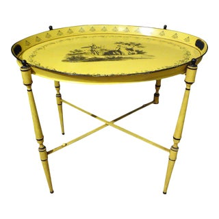 Italian Neoclassical Style Tole Tray Table For Sale
