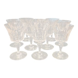 Set of 10 Signed Baccarat French Crystal Tall Water Goblet Wine Stems - Piccadilly For Sale