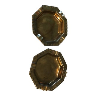 Vintage Brass Ashtrays - a Pair For Sale