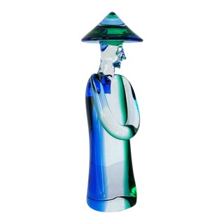 Murano Glass Chinese Man Sculpture by Seguso For Sale