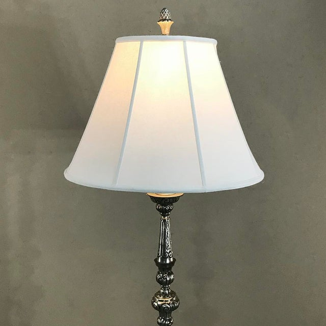 White Antique Italian Baroque Silver Plated Brass Floor Lamp For Sale - Image 8 of 11