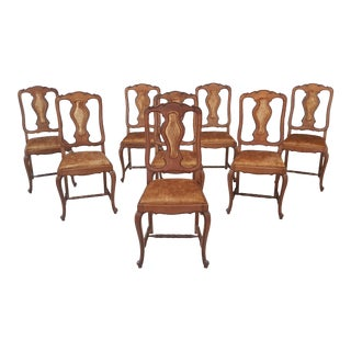 Renewed French Country Oak Dining Chairs Louis XV - Set of 8 For Sale