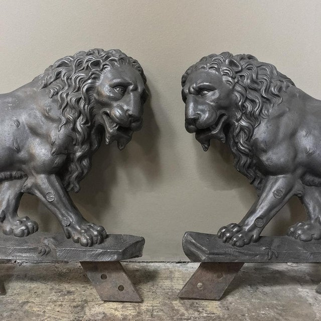 Pair 19th Century Architectural Cast Iron Lion Statues For Sale - Image 4 of 12