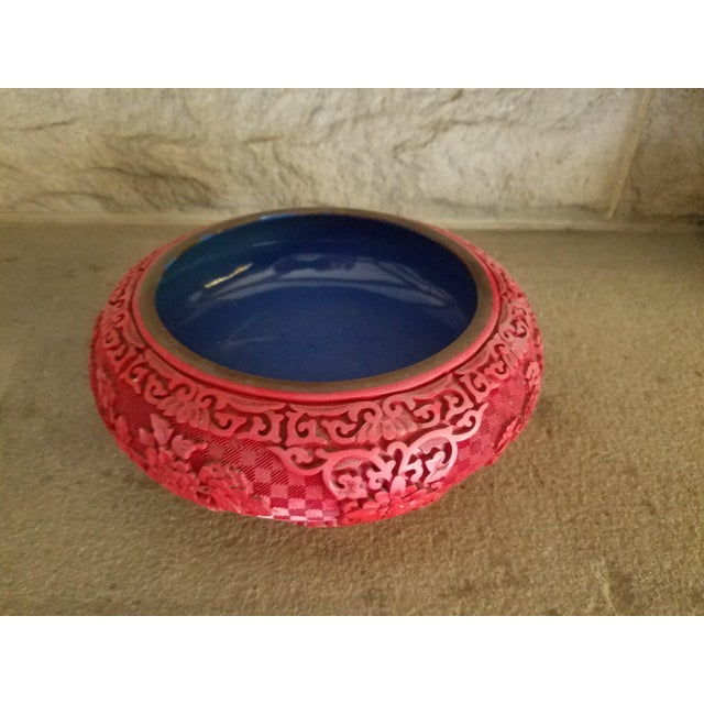 Chinese Hand Carved Cinnabar Red Bowl For Sale - Image 5 of 7