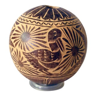 Vintage Peruvian Folk Art Carved Gourd With Birds For Sale