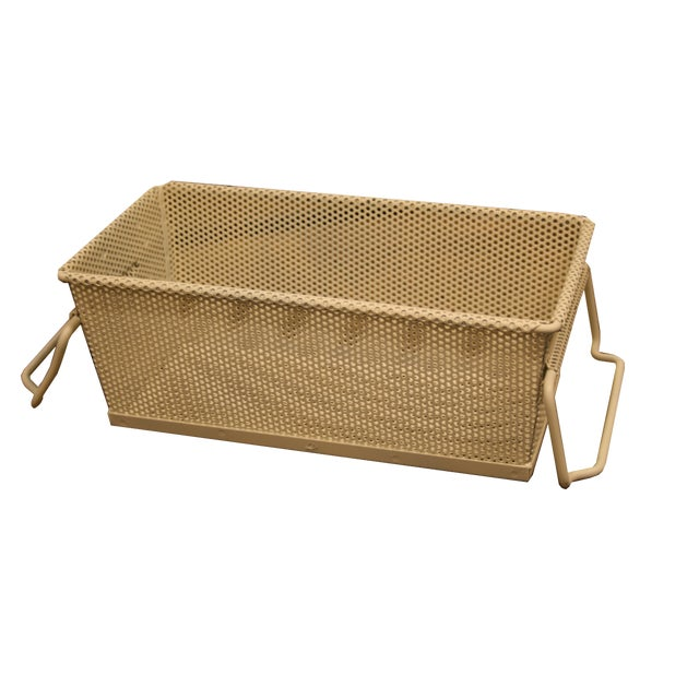 Vintage French Industrial Metal Basket With Handles For Sale