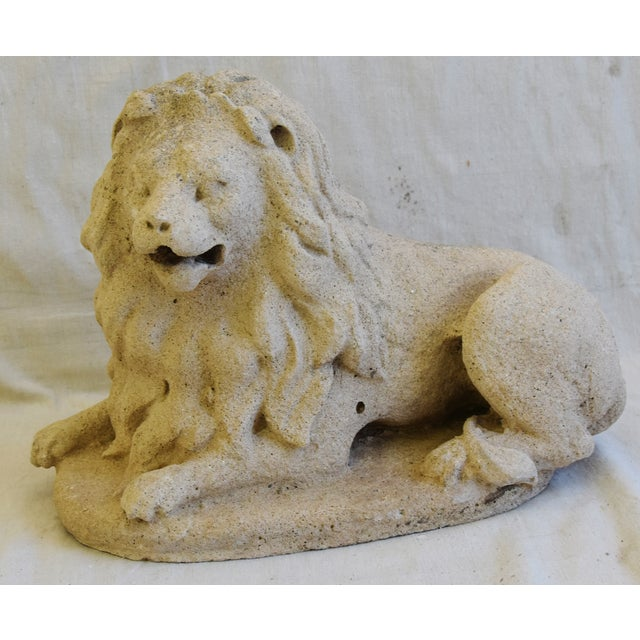 Antique French Sandstone Lion Statue Figure For Sale - Image 9 of 13