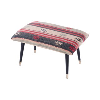 Pasargad Home Bosphorus Collection Black & Red Kilim Cover Ottoman For Sale