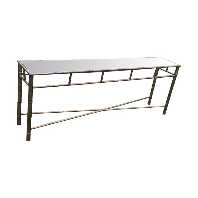 Vintage Faux Bamboo Metal Sofa Console Table - Image 1 of 11
