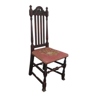 Antique 1920's Jacobean Revival Chair Banister Back Chair With Needlepoint Seat For Sale