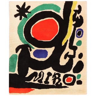 Small Square Vintage Art Rug in the Style of Miro - 3′6″ × 4′3″ For Sale