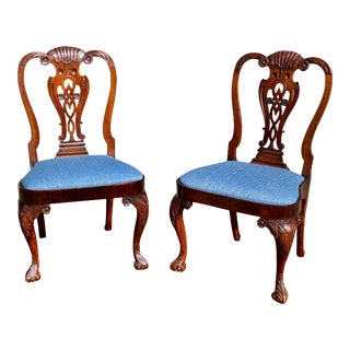 Irish Georgian Walnut Side Chairs - a Pair For Sale