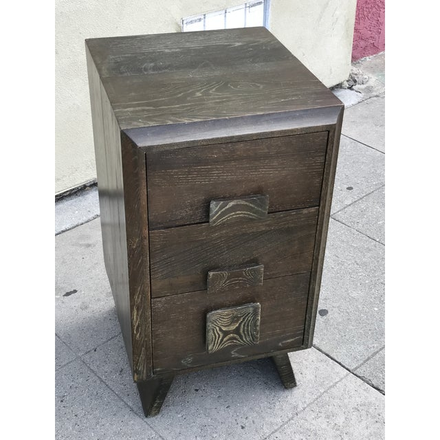 Paul Frankl Style Cerused Brown 3 Drawer Nightstand - Image 9 of 9