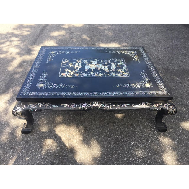 Chinoiserie Lacquered Coffee Table For Sale - Image 4 of 7