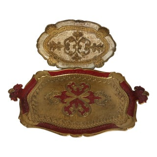 Two Vintage Italian Tole Gold & White Writing and Gold and Red Serving Trays by Bush