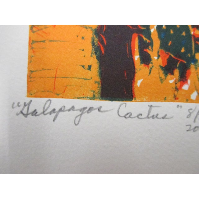 Boho Chic Vintage Lithograph From the Galapagos Collection by Ann Zahn: Cactus For Sale - Image 3 of 5