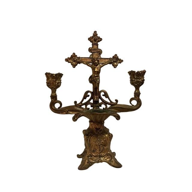 Vintage Brass Holy Water Font Candelabra For Sale