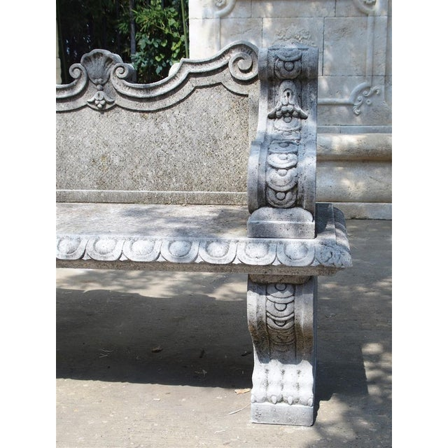 Carved Limestone Garden Bench from Northern Italy - Image 10 of 11
