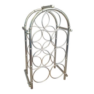 Vintage Chinoiserie Faux Bamboo Brass Wine Rack Holder