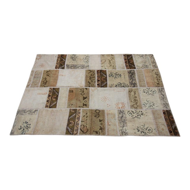 Vintage Turkish Patchwork Oushak Rug - 5′10″ × 8′5″ - Image 1 of 6
