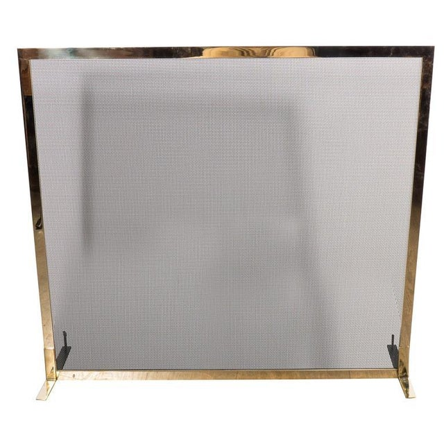 Ultra Chic Custom Minimalist Fire Screen Polished and Lacquered Brass For Sale - Image 10 of 10