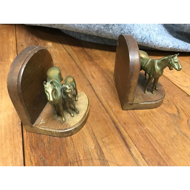 Cabin Wood & Metal Horse Bookends- A Pair For Sale - Image 3 of 4