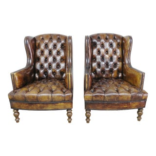 Pair of English Leather Tufted Wingback Armchairs C. 1900's