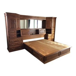 Solid Cherry King Bed With Storage For Sale