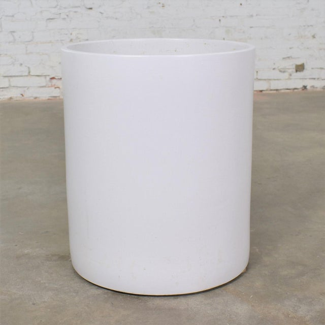 Vintage Mid Century Modern Architectural PotteryWhite Cylindrical Pot For Sale - Image 12 of 12