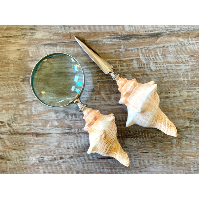 Handsome pair of Conch Shell Magnifying Glass and Letter Opener Desk Set. A must have set for coastal and beach house...
