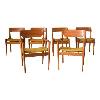 Danish Set of Six Teak Dining Chairs by Grete Jalk for Poul Jeppesen For Sale