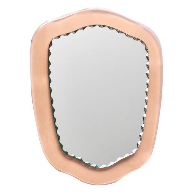 Italian Venetian Pink Glass Mirror For Sale - Image 3 of 11
