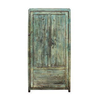 Chinese Distressed Blue & Green Tall Iron Lock Armoire