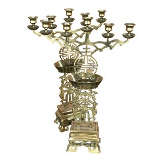 1960s Vintage Brass Chinoiserie Candelabras- A Pair For Sale