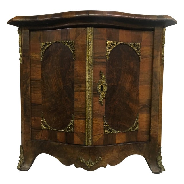 Antique Miniature French Walnut Two-Door Cabinet For Sale