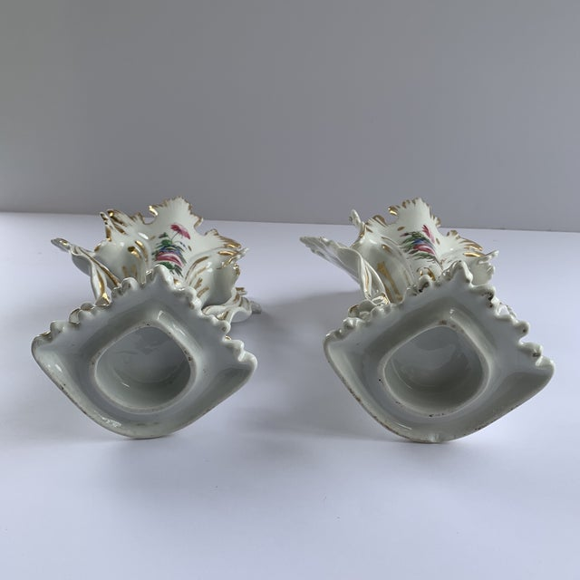 Metal Antique Flower Vases - a Pair For Sale - Image 7 of 8